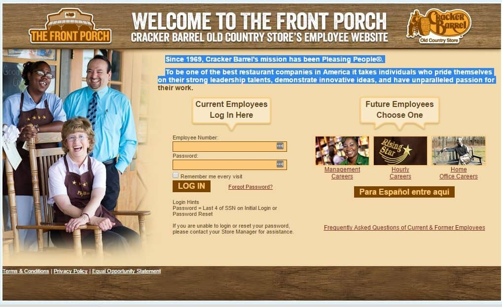 Cracker Barrel Employee Login Screen Official