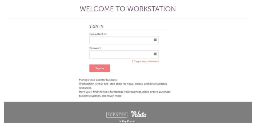 Login Scentsy Workstation page screen