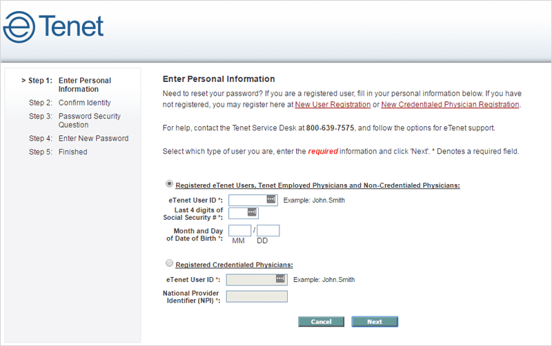 eTenet Password Reset Page Option