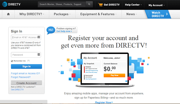 Official Directv Login Page