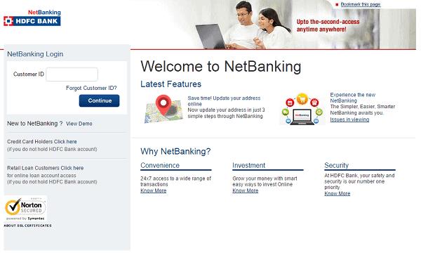 hdfc landing page netbanking login