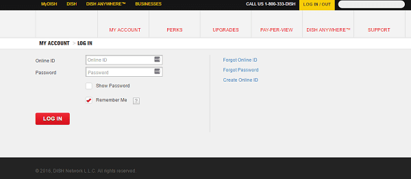dish network login Page for customers