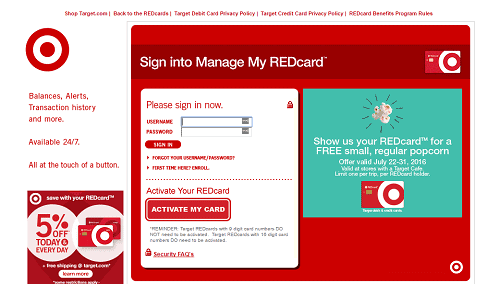 Target red card login landing page