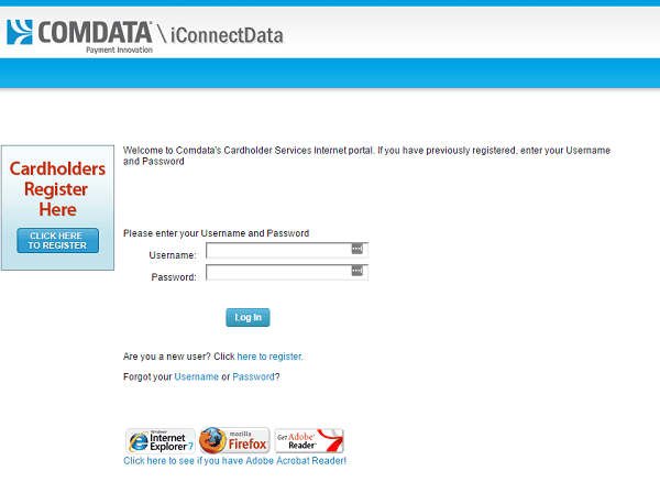 iConnect Comdata Login Page