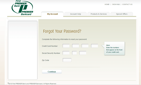 First Premier credit card login Bank Forgot Password Page