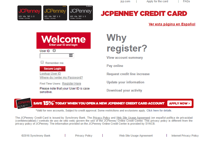 JCPenney credit card login Page