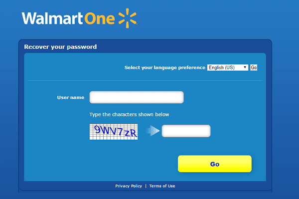WallmartOne Login Password recovery page