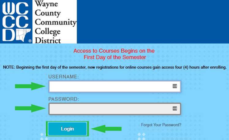 Wayne County Community College District WCCCD Blackboard Login