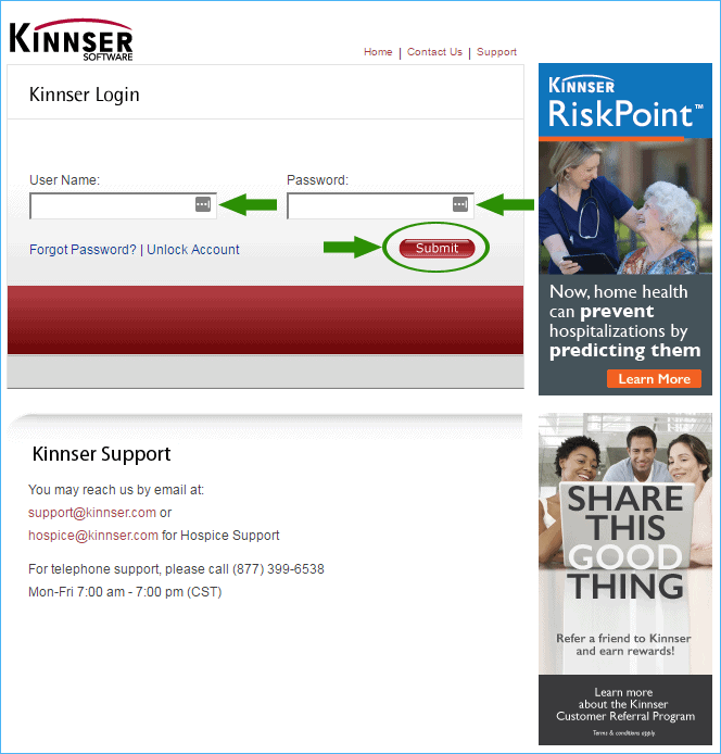 Kinnser Software Login Page Screenshot