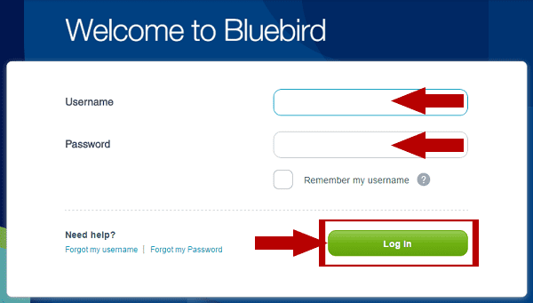 Bluebird American Express Login steps