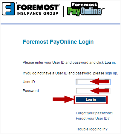 Foremost PayOnline Login Step 2