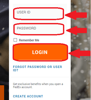 FedEx login form