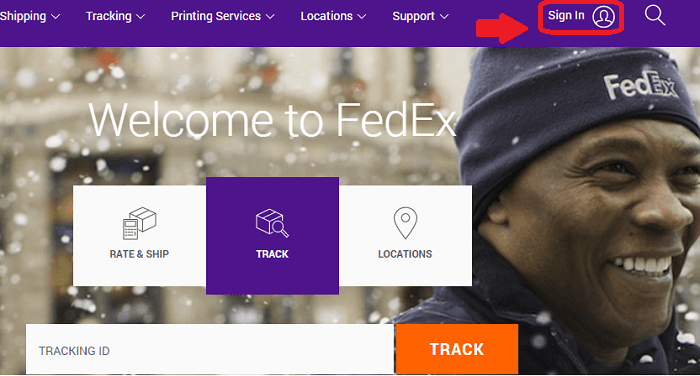 FedEx login button