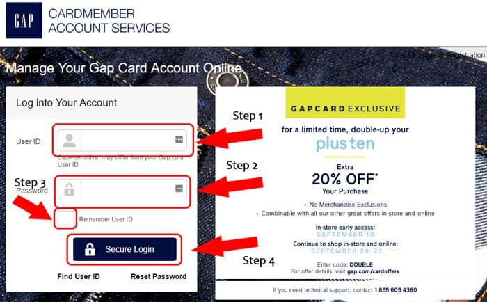 gap credit card login page