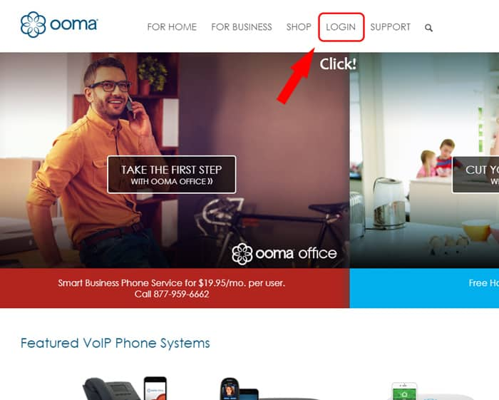 screenshot of ooma website
