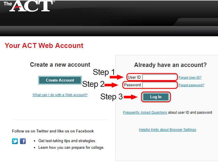 act members login page