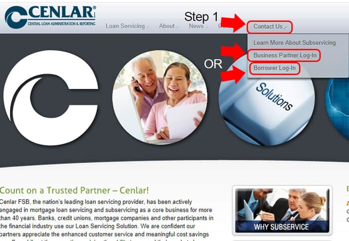 screenshot of cenlar homepage