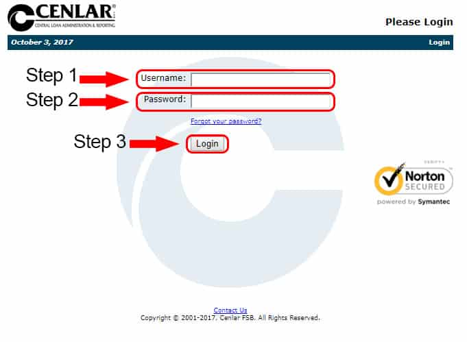 login page of cenlar