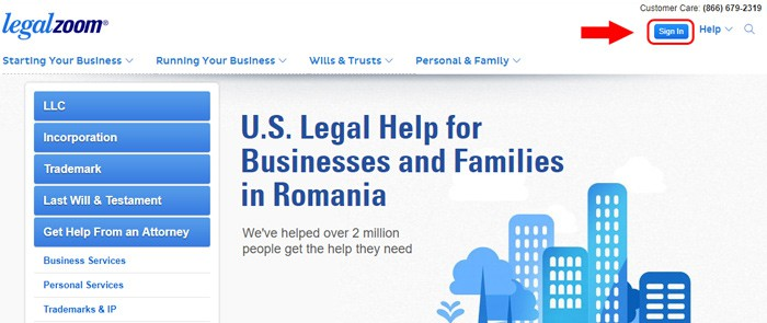 legal zoom website homepage