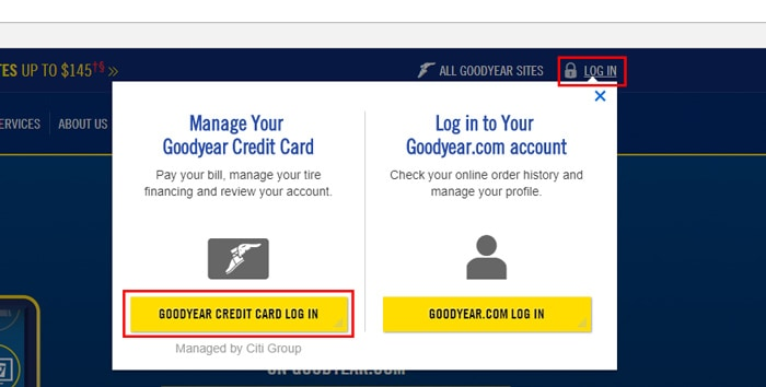 goodyear login button