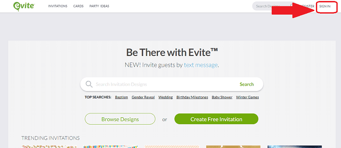 Evite homepage log in