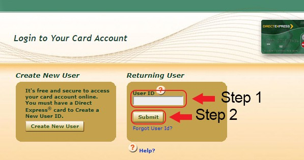 direct express online banking login