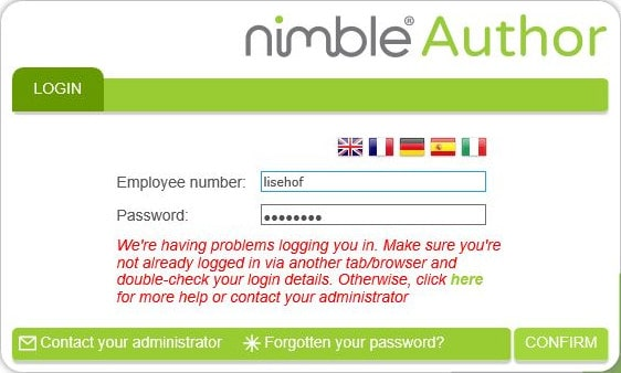 nimble author login