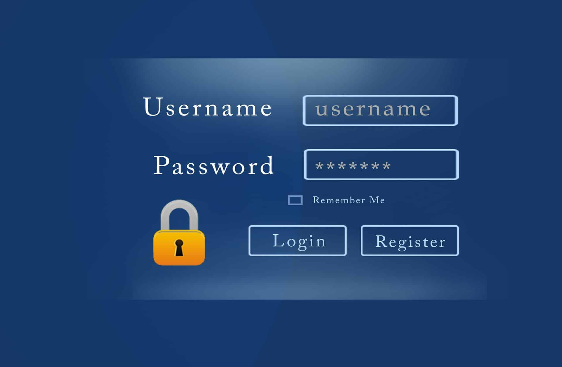 login register window button
